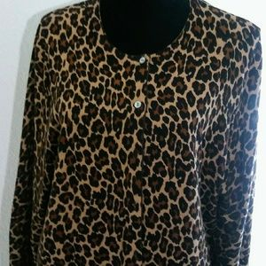 Land's End Cardigan Leopard Pattern 1X Plus